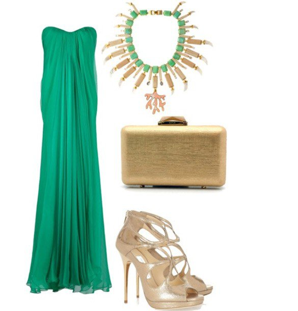 emerald_green_dress_and_high_heels_outfit_combination