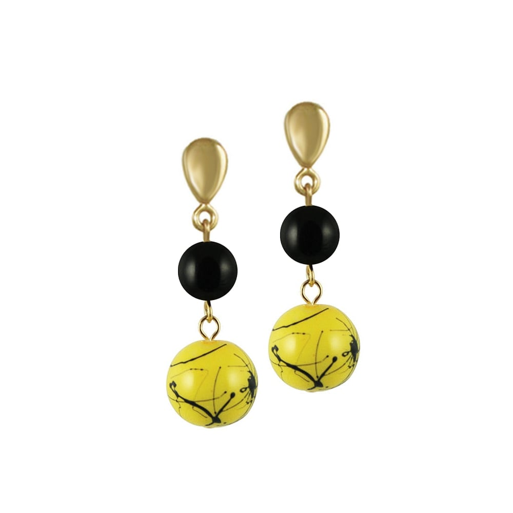 flamboyant_yellow_black_glass_gold_tone_drop_clip_on_earrings_p952_972_image